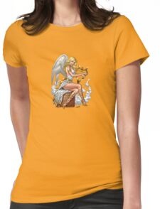 Sexy Blond Angel with Harp by Al Rio Womens Fitted T-Shirt