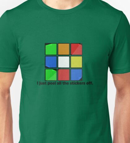 I just peel the stickers. Unisex T-Shirt