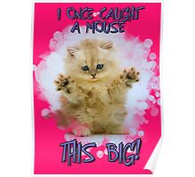 I once caught a mouse...Cute Cat Art / Tshirt Print Poster