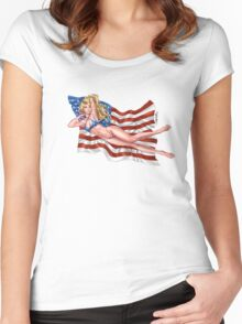 Sexy Blond with American Flag Bikini by Al Rio Women's Fitted Scoop T-Shirt
