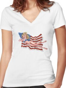 Sexy Blond with American Flag Bikini by Al Rio Women's Fitted V-Neck T-Shirt