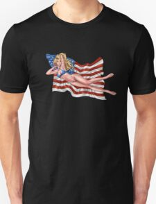 Sexy Blond with American Flag Bikini by Al Rio T-Shirt
