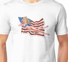 Sexy Blond with American Flag Bikini by Al Rio Unisex T-Shirt