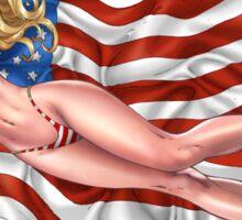 Sexy Blond with American Flag Bikini by Al Rio Sticker