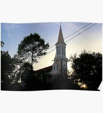 The Church at Dusk - Ho Chi Minh City, Vietnam. Poster