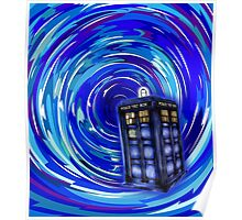 Blue Phone Box with Swirls Poster