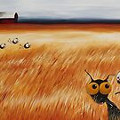 Stressie cat and the crows in the hay fields by StressieCat