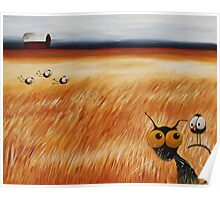 Stressie cat and the crows in the hay fields Poster