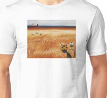 Stressie cat and the crows in the hay fields Unisex T-Shirt