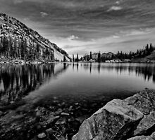 Lower Red Pine Lake - Black and White by Alan Mitchell
