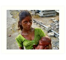 Child gives birth to mother Art Print