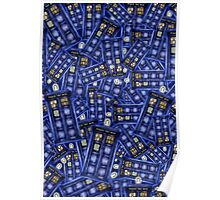 British Blue Phone box Pattern Poster