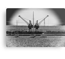 3 Boats and 2 Cranes! Metal Print