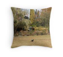 magpies garden Throw Pillow