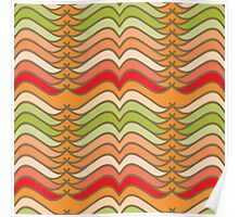 Wavy Abstract Colorful Stripes Poster