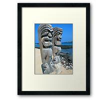 Hawaiian Spiritual Statues on The Ocean Framed Print