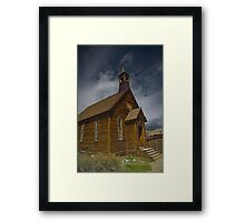 Storm Brewing Over Bodie Church Framed Print
