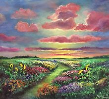 Sunset and Flowers by Randy  Burns