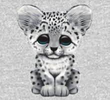 Cute Baby Snow Leopard Cub on Red Kids Clothes
