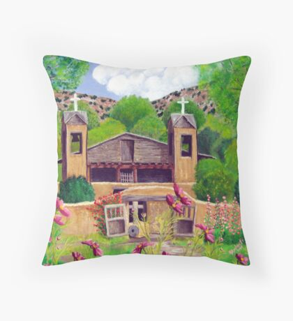 Chimayo N Cosmos, Chimayo, New Mexico ~ Oil Painting Throw Pillow