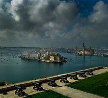 Saluting Battery Grand Harbour Valletta Malta by Edwin  Catania