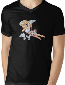 Cute Blond Cupid Angel with Birds by Al Rio Mens V-Neck T-Shirt