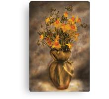 Daffodils in a Burlap Vase Canvas Print