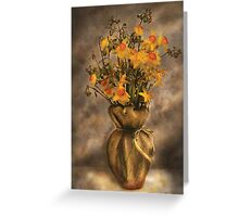 Daffodils in a Burlap Vase Greeting Card