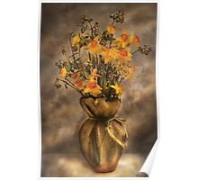 Daffodils in a Burlap Vase Poster