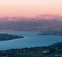 sunset scenery at lake zuerich by peterwey