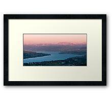 sunset scenery at lake zuerich Framed Print
