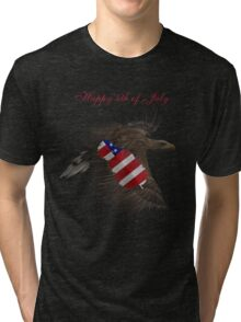 Happy 4th of July- Eagle, Feather, Flag Tri-blend T-Shirt