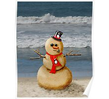 Sand Snowman at the beach! Poster