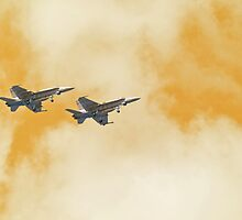The Sound of Freedom - Two F-18's Flying in Tandem  by Buckwhite