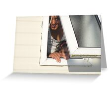 She looked out through the bathroom window... Greeting Card