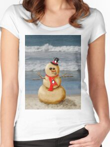 Sand Snowman at the beach! Women's Fitted Scoop T-Shirt