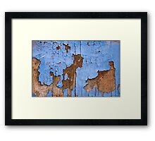 Psychedelic blue map world Framed Print