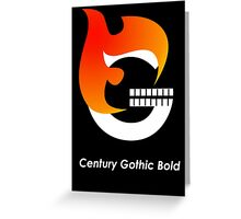 Century Gothic Bold Font Iconic Charactography - G Greeting Card