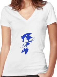 Minimalist Sonic 7 Women's Fitted V-Neck T-Shirt