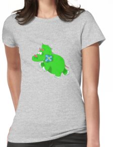 green dinosaur Womens Fitted T-Shirt