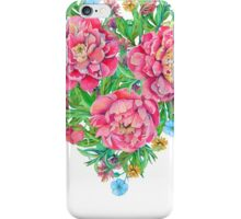 peony flowers and decoration of leaves and branches in heart shape iPhone Case/Skin