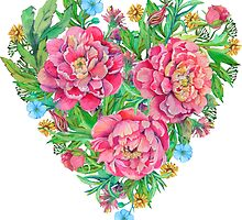 peony flowers and decoration of leaves and branches in heart shape by Nadiiaz