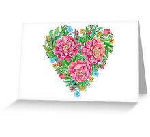 peony flowers and decoration of leaves and branches in heart shape Greeting Card