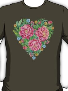 peony flowers and decoration of leaves and branches in heart shape T-Shirt