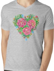 peony flowers and decoration of leaves and branches in heart shape Mens V-Neck T-Shirt