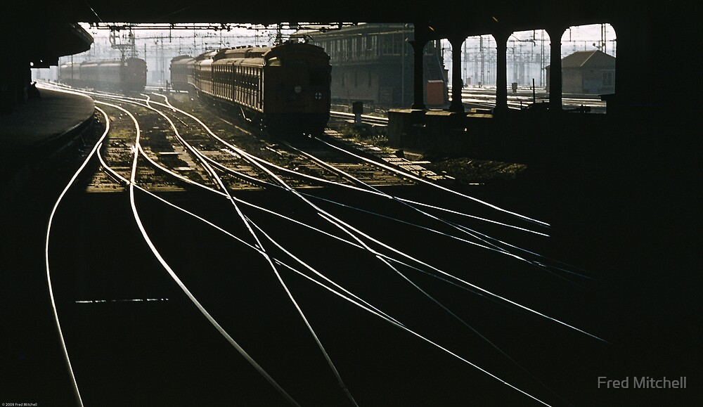Flinders Street station train under Swanston street 19630000 0000 by Fred Mitchell