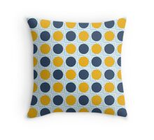 Blue and Yellow Polka Dots on Light Blue Pattern Throw Pillow
