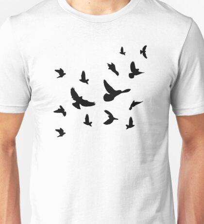 Black flying birds Unisex T-Shirt