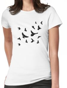 Black flying birds Womens Fitted T-Shirt