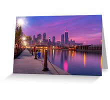City Dreams - Chicago Skyline at Sunset Greeting Card